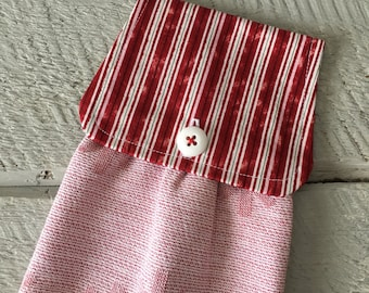 Hanging Kitchen Towel - Christmas Holiday Stripe Fabric Snowflake Red and White Terry Cloth Towel Button Closure