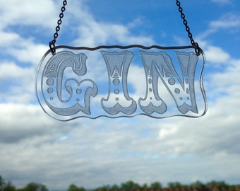 Circus Style Gin Laser Cut Necklace 16 inch Clear Perspex Necklace
