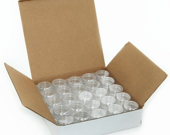 50 New, High Quality, Empty, Clear, 5 Gram Plastic Pot Jars, Cosmetic Containers, With Lids.