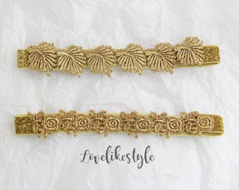 Gold Wedding Garter Set,Gold Flower and Leaf Lace Wedding Garter Set, Bridal Gold Garter Belt, Vintage Wedding Garter -1810
