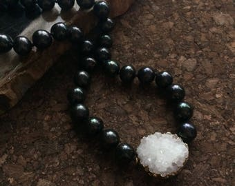 Black Pearl and White Druzy Hand Knotted Statement Necklace