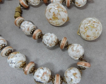 White Givre and Copper Fluss Venetian Art Glass Bead Necklace & Earrings Set ITALY   PM18