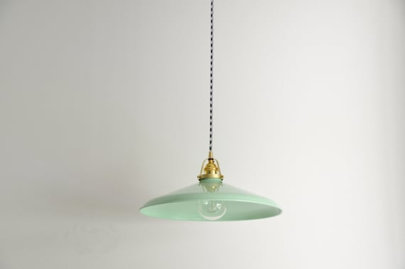 Mint green brass pendant light with a houndstooth cloth aloadofball Gallery