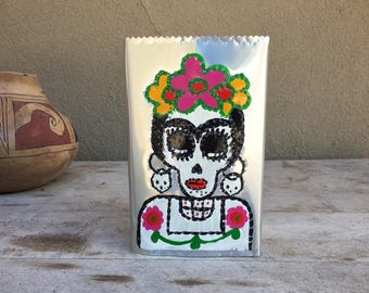 Vintage hand-painted punched tin luminaria skeleton Day of Dead candleholder Halloween decor