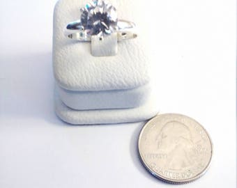 Vintage Sterling Silver Round Cubic Zirconia Engagement Ring, size 8 1/4