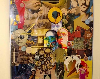 Lei Sun Sen Signs Of Our Time 1968 Mixed Media Collage 1960's Vietnam War Beatles Cold War