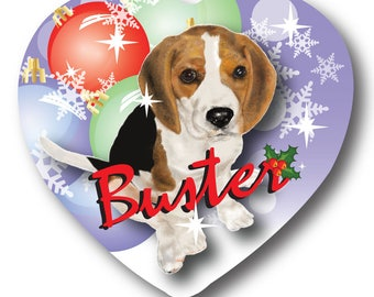 NEW Beagle Breed Dog Puppy Lover Personalized Christmas Holiday Heart Ornament Double Sided
