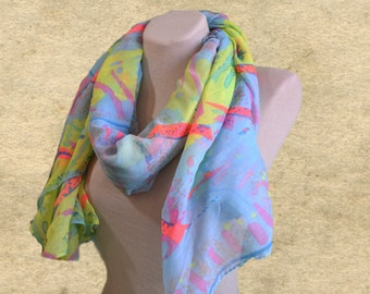 Wide fabric scarf, Womens scarf shawl, Women's large scarf,  Colorful scarf, Multicolor scarves, Scarves for women, Christmas gift