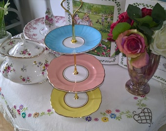 Vintage China Three Tier China Cake Stand Mad Hatter Tea Party Tearoom Birthday Celebration Wedding Table Display Cupcakes Shabby Chic Gift