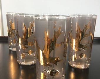 Mid Century Modern Glasses gold leaves and acorn design