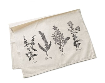 Kitchen herbs tea towel-botanical tea towels-tea towel-custom tea towels-flour sack towel-farmhouse tea towel-handmade-by NATURAPICTA-TWNP12
