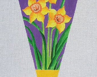 Daffodil Needlepoint Banner - with plain extended top - Jody Designs