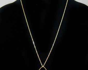 Teardrop Pendant with Freshwater Pearl and Mini Leaf Drops Gold Chain Necklace - Great for Layering!