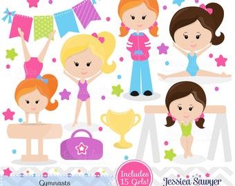 INSTANT DOWNLOAD, Gymnastics Clipart clip art, girls little tumbler clipart, tumbling graphics for invitations