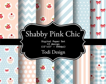 Shabby Pink Chic - INSTANT DOWNLOAD Digital Paper Set