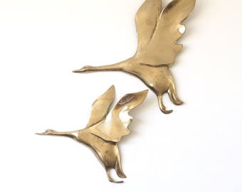 Set of 2 Vintage Brass Geese/ Brass Wall Hanging