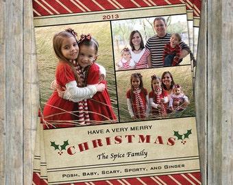 Family photo christmas card, holiday card, multiple photo card, digital printable file