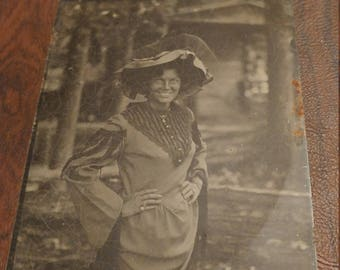 Smiley Face:  Large Contemporary Tintype Photograph of Woman With a Full Smile
