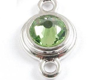 TierraCast Silver Birthstone Link -August Peridot Green Swarovski Crystal (1 Piece)