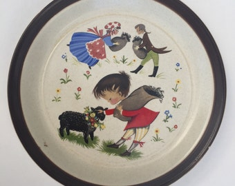 Vintage Doverstone Staffordshire England 'Heather' Baa, Baa, Black Sheep Nursery Rhyme Plate