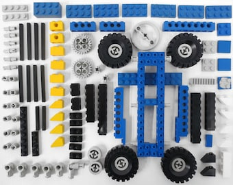 Vintage 1978 Lego Legoland Technic Gokart Dragster 854 Vehicule, 120+ Original Pieces Lot, Gray Blue Black Yellow