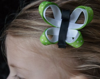 Hair Bow - Lime Green Butterfly Ribbon Sculpture