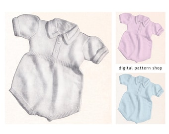 Baby Romper Pattern Playsuit Knitting Pattern Boys or Girls One Piece Romper Instant Download PDF Size 2 3- K8