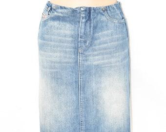 "Vintage Blue Denim DIESEL Straight Pencil Knee Length Women's Jeans Skirt Size UK12 L20"""