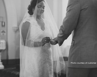 90 inch Drop Veil style Bridal Veil, Pencil Edge