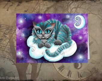 Greeting Card - Baby Cheshire Cat Alice in Wonderland - Blank Dark Art Birthday Thank You Galaxy Gothic Space Moon Goth Fantasy Moon Stars