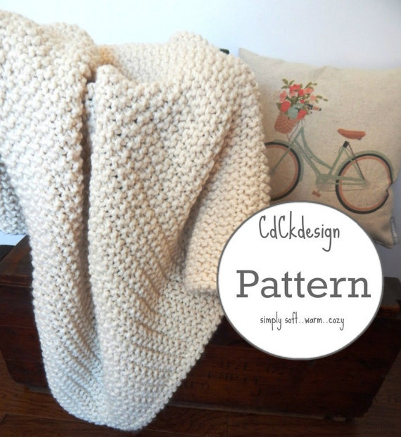 Knitting Pattern Chunky Knit Wool Blanket Throw Soft and