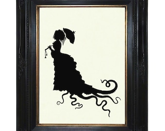 Silhouette Octopus Lady Art Print with Tentacles Parasol Victorian Steampunk Kraken Art Print Dress