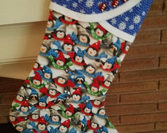 Christmas Stocking with Penguin Print