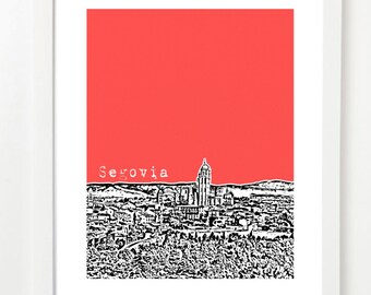 Segovia Spain  - Segovia Skyline Print - Spain Travel Art