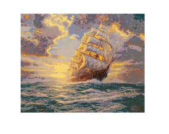 PLAID Paint by Number Kit COURAGEOUS VOYAGE Ship Boat No Blending Thomas Kinkade