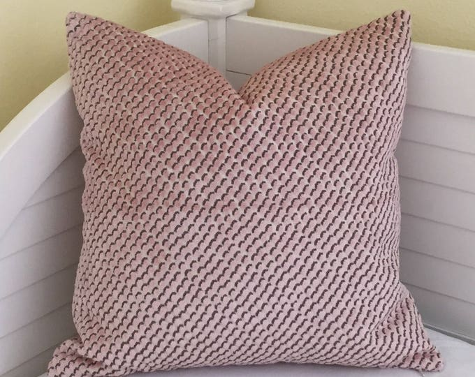 Kravet Mazzy Dot in Blush Designer Pillow Cover, Velvet Pillow Cover, Square, Lumbar and Euro Pillow Cover Sizes, Pink Pillow, Pillow Sham