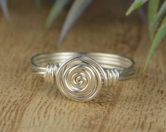 Wire Wrapped Ring- Sterling Silver, Yellow or Rose Gold Filled Wire with Dainty Swirl - Any Size 4 5 6 7 8 9 10 11 12 13 14