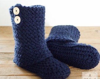 Crocheted boot style slippers