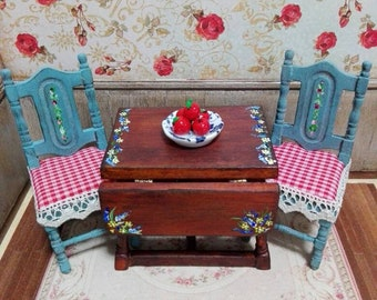 Novelty OOAK board game with two chairs for dollhouse scale 1:12 scale hand painted