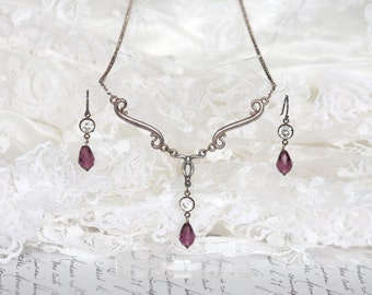 Naturally Aged Sterling Silver Purple Austrian Crystal and CZ Necklace and Drop Earrings Set