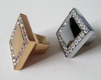 Gold Silver Crystal Glass Knobs Dresser Knob Clear Square Drawer Knobs Pulls Handles Cabinet Knob Furniture Handle Hardware Rhinestone Bling