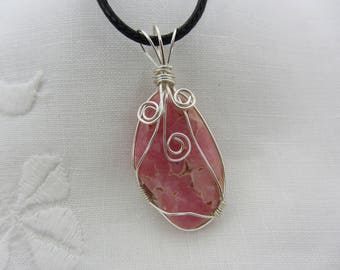 Rhodochrosite Wire Wrapped Pendant