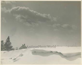 Winter snow scene antique art photo by E. F. Clark