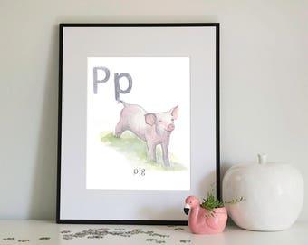 P is for Pig, alphabet series - Print of Original Watercolour