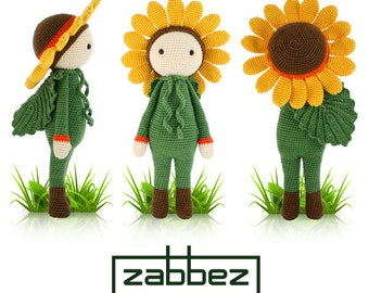 "Crochet pattern amigurumi doll ""Sunflower Sam"" PDF"