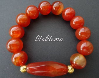 Cornelian Bracelet Natural Stone Bracelet Charm Jewelry Women Cornelian Bracelet Red Gemstone Jewelry Cornelian Crystal Jewelry Beaded Stone