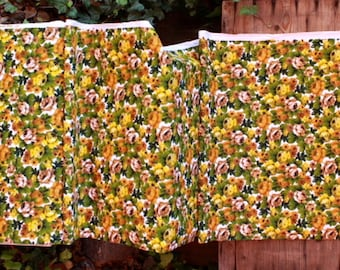 terry cloth fabric, Vintage decor fabric by the yard, flowers