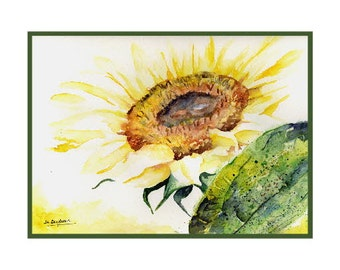 In the Light Watercolor Sunflower Note Cards Notecards Sunflower Print Sunflower Stationery Gift Box Stocking Stuffers