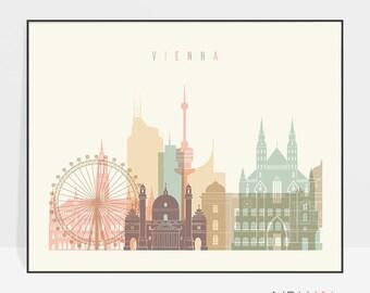 Vienna print, Poster, Wall art, Vienna skyline, Austria cityscape, City poster, Typography art, Home Decor, Digital Print, ArtPrintsVicky