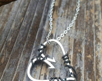 "Fish Hook Heart ""hooked on you""  Necklace -Small  Hooks"